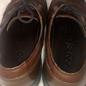 Ecco Shoes - Ecco Leather Lace-Up Mens Shoes
